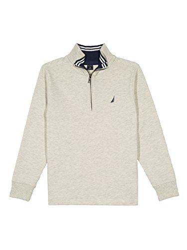 Boys Quarter Zip Sweater (Nautica Big Boys' Lightweight Long Sleeve Quarter Zip Shirt, Oat Heather, X-Large (18/20))