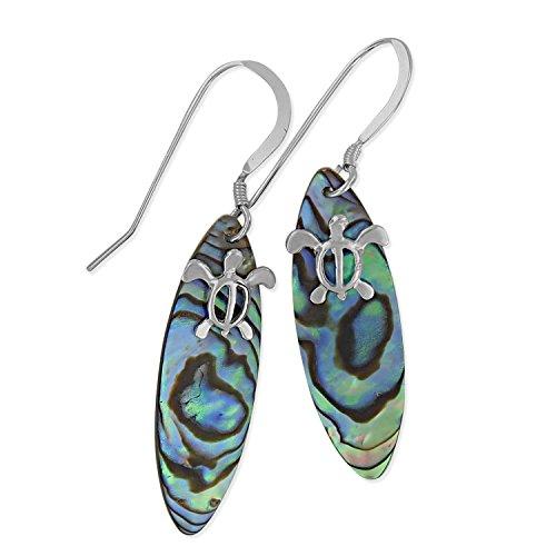 Earrings Surfboard - Sterling Silver Abalone Shell Surfboard Turtle Dangle Earrings