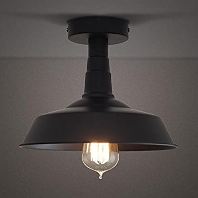RUXUE Semi-Flush Mount Ceiling Light Industrial Vintage Style Warehouse Lighting Fixtures Black