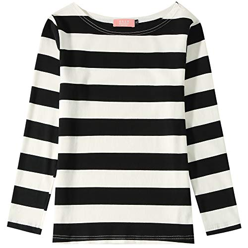 SSLR Big Girl's Crew Neck Long Sleeve Cotton Stripe Tee Shirt (Medium(10-12), Black White) ()