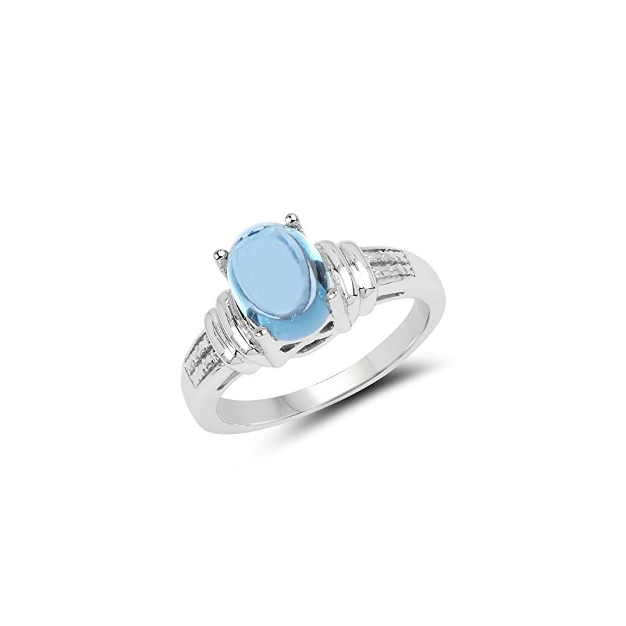 Johareez 2.10 cts Swiss Blue Topaz .925 Sterling Silver Rhodium Plated Ring for Women