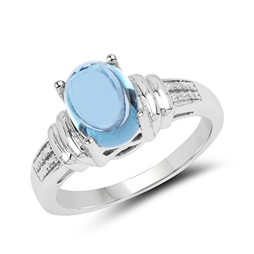 9x7MM Oval Swiss Blue Topaz Ring in .925 Sterling Silver, Real Genuine Swiss Blue Topaz Mother's Day Gift (2.10ctw)
