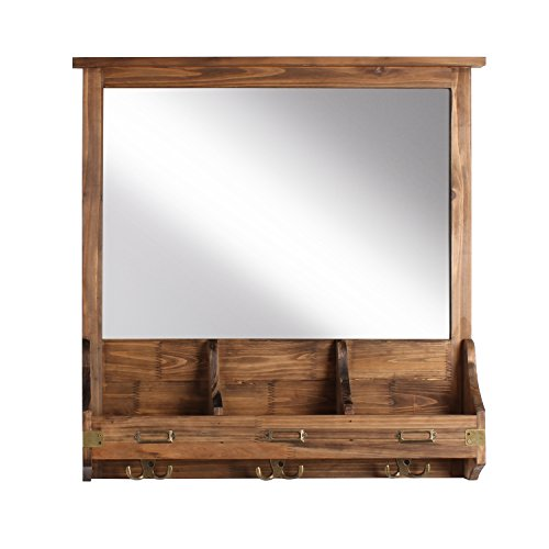 Kate and Laurel Stallard Decorative Rustic Wood Home Organizer with Mirror, Pockets, -