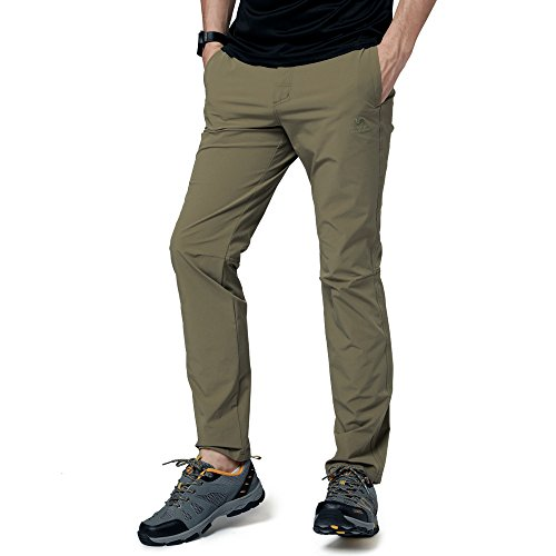 Camel Men's Spring and Summer Lightweight Breathable Casual Hiking Pants Outdoor Sports Quick Dry Trousers with Belt(khaki,L) Breathable Nylon Pant