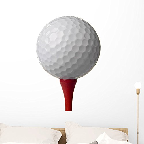 Wallmonkeys Red Tee Golf Ball Wall Decal Peel and Stick Graphic (36 in W x 24 in H) WM209069