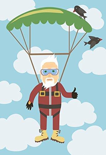 Leyiyi 6.5x10ft Photography Background Happy Grandparents Day Backdrop Cartoon Figure Cute Icon Smile Face Glider Flying Parachute Pilot Birds Sky Cloud Sept Festival Photo Portrait Vinyl Studio Prop
