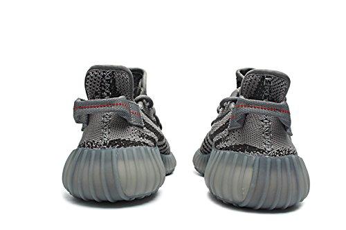 Bernard Bush Boost 350 V2 Mannen Sneakers Vrouwen Unisex Loopschoenen Schoenen Kant Ademend Gebreide Zebra Grijze Reeks Grijs / Rood