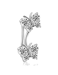 MaBelle 18K White Gold Diamond Accent Couple Butterfly Single Ear Cuff (0.17ct)
