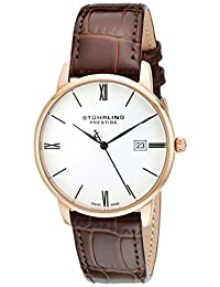 Stuhrling Original Men's 307L.334K2 Prestige Swiss Made Kingston Quartz Date Ultra Slim Brown Watch