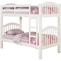 ACME 02354KD Heartland Twin Bunk Bed with 16 Slasts, White Finish
