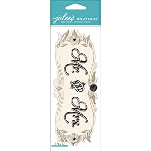 Jolee's Boutique Dimensional Title Stickers, Mr. and Mrs.