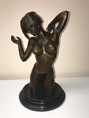 Bronze Brass Art hot statue - FULLY NAKED GIRL - FIT BODY - SEX TEASE - NICE BREASTS - MODELING STATUE - DETAILED RARE ART WORK - sexy art for bathroom