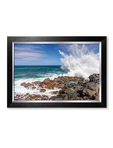 - IPIC - Waves Crashing at Queen's Bath, Kauai, Hawaii. Personalized Artwork with Names and Date on, Perfect Love Gift for Anniversary,Wedding,Birthday and Holidays. Framed Size: 27x19x1.25