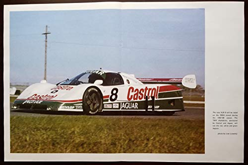 Magazine Print Poster: 1987-1988 Jaguar XJR-9 Prototype Race Car, FIA Group C, IMSA Camel GTP, 24 Hours of Daytona, TWR Champions, Castrol sponsored, from 1987 issue of EJAG Magazine, Photograph by Lew Lowerey, 11 X 17 inches