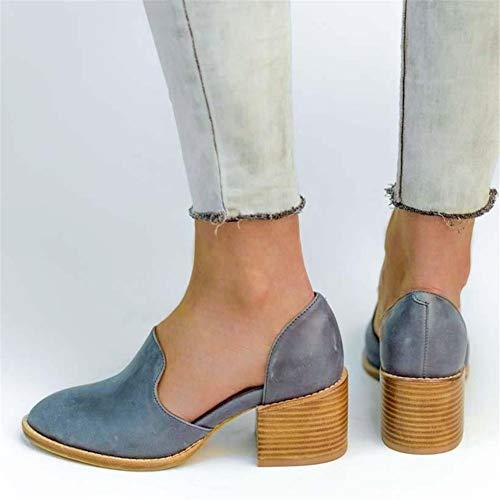 Sexy Nero 43 Medio Casual Blocco Eleganti Tacco Mocassini 5cm Blu Loafers Pelle Scarpe Moda Estate Basse Donna Piatte Zeppa 35 RqFOa4