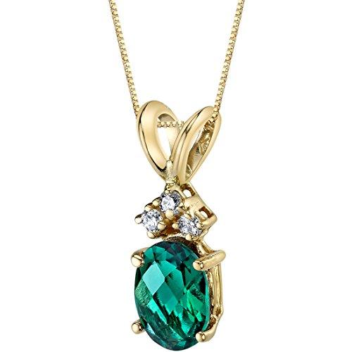 14 Karat Yellow Gold Oval Shape 0.75 Carats Created Emerald Diamond Pendant