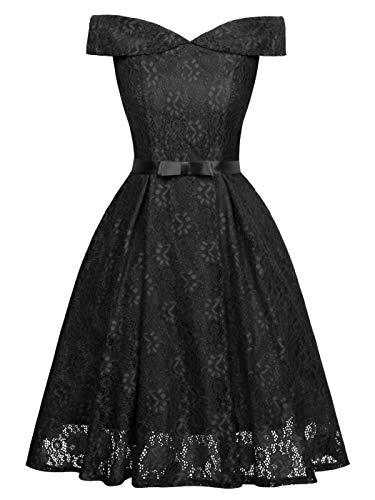 FAIRY COUPLE Women's Off Shoulder Vintage Floral Lace A Line Swing Formal Party Cocktail Dress 2XL Black]()
