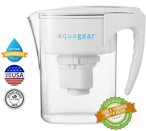 Aquagear Water Filter Pitcher - Removes Fluoride & Lead - 150 Gallon Filter Aqua Gear Filter - Clear