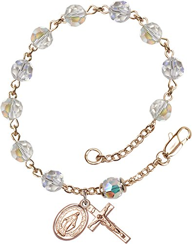 14kt Gold Filled Rosary Bracelet features 6mm Crystal Austrian Tin Cut Aurora Borealis beads. The Crucifix measures 5/8 x 1/4.