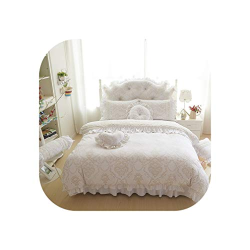 (4/6pcs Princess Style Velvet Bedding Sets Cotton Warm Bed Linens Full Queen King Lace Flower Duvet Cover+Bedskirt+Pillowcases,White,Full Size 6pcs)