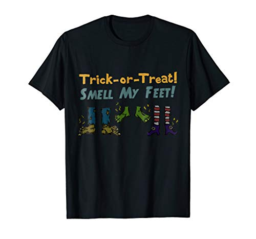 Trick-or-Treat Smell My Feet Funny Halloween Shirt Kid Adult]()