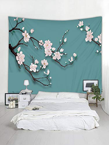 BROSHAN Nature Flower Tapestry, Asian Japanese Cherry Blossom Flower Tree Branch Print on Teal Green Backdrop Fabric Wall Hanging for Bedroom Living Room Dorm,1 Panel, Pink Black Cyan, 60