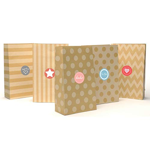 116bd8494 Casparo Eco Design 24 Beautifully patterned Advent bags made kraft paper  stickers   Paper bags ideal DIY Advent calendar   Gift bag birthday, ...