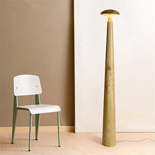 Floor Lamp Modern Contemporary Fashion Mushroom Natural Wooden Touch Dimmable Led 15W Two-Color Ambient Light Standing Lamp 1.46M for Hotel Living Room Bedroom Bedside
