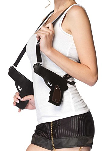Gangster Halloween Costume Accessories (Leg Avenue Women's Gangster Double Gun Zipper Holster, Black, One)
