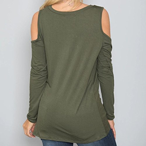 Unie Longues Vert Top Sexy Casual Froide Femme Manches Blouse Shirt Couleur Chemise Bringbring Paule T wnY677qI
