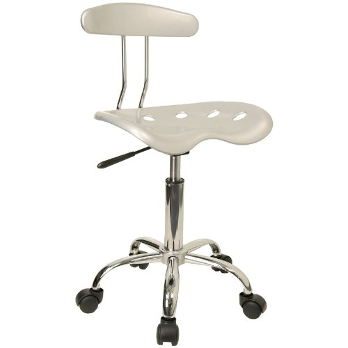 Flash Furniture Vibrant Silver & Chrome Computer Task Chair With  Tractor Seat Lf-214-Silver-Gg LF-214-SILVER-GG