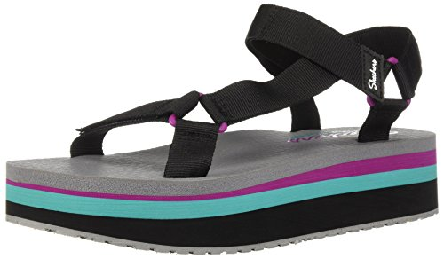 Skechers Women's Whip IT - Double Festive - Adjustable Slingback Sandal Black, 10 M US