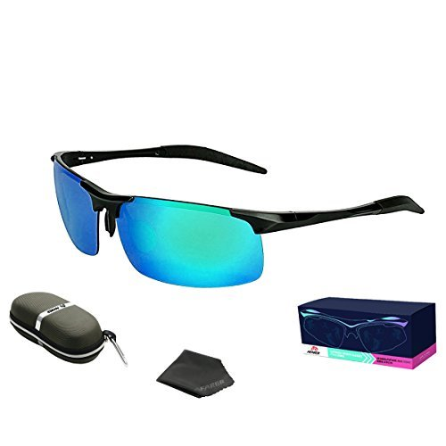 AFARER Polarized Sunglasses Sports Susnglasses for Mens Driving Running Biking Cycling Fishing Golf with Metal Frame Black Blue