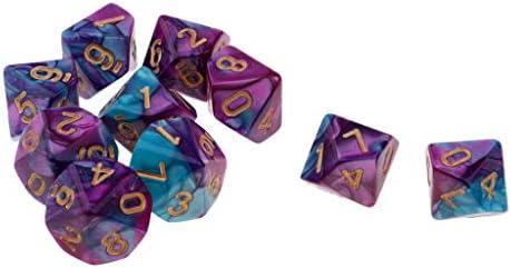 milageto Dados De Juego De 10x 10 Caras Dados De 16 Mm para Juegos De Mesa / Enseñanza De Matemáticas - Púrpura + Azul: Amazon.es: Juguetes y juegos