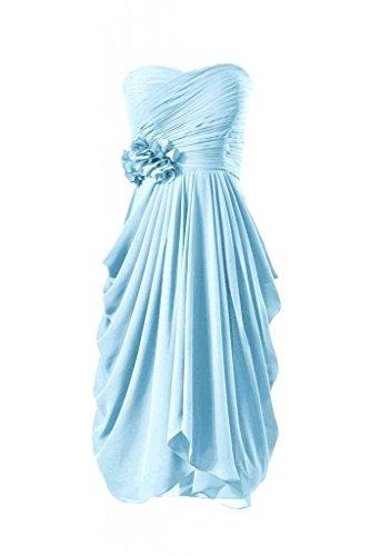 Daisyformals Genou Longueur Robe De Demoiselle D'honneur En Mousseline De Soie Robe De Soirée Chérie (bm332) # Bleu 40 Glace