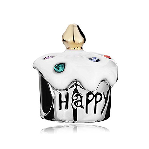 White Birthday Cake Charm (LovelyCharms Happy Birthday Cake Bday Beads Fit Bracelets (White))