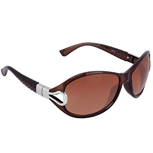Dervin Brown Frame Brown Lens Over Sized Sunglasses for Women And Girls (Brown)