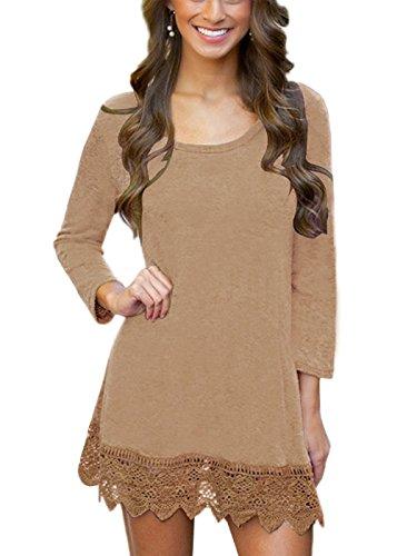Crochet Tunic Trim (MiYang Women's Long Sleeve A-line Lace Stitching Trim Casual Dress 2XL Khaki)