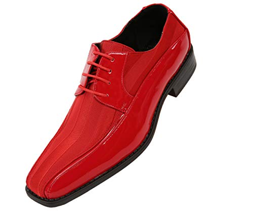 Viotti Men's Formal Oxford Dress Shoe Striped Satin and Patent Tuxedo Classic Lace Up with or Without Tip Style 179/5205 Red