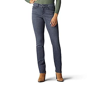 Lee Womens Secretly Shapes Regular Fit Straight Leg Jean Jeans - Gray - 4 Short