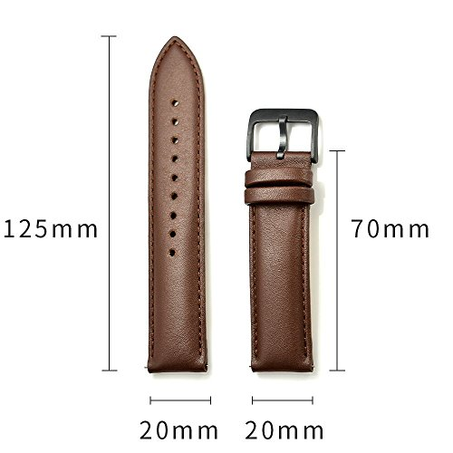 LEUNGLIK 20mm Watch Band Quick Release Leather Watch Bands with Black Stainless Pins Clasp -Brown by LEUNGLIK (Image #2)
