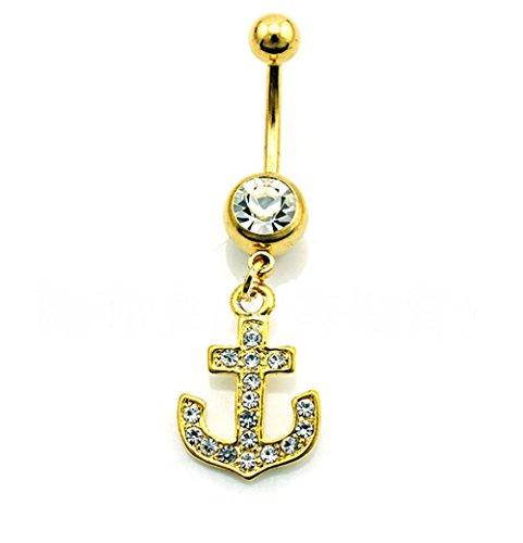 hyidealism dorado con diseño de ancla Piercing de ombligo vientre botón anillo Barbell cuerpo perforadas joyas