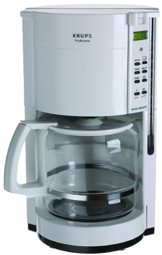 Krups 453-71 12-Cup Coffeemaker with Gold Tone Filter, White, DISCONTINUED