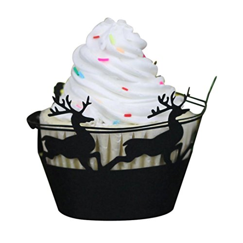 Staron Cupcake Wrappers 24pcs Christmas Deer Design Artistic Bake Cake Paper Cups Lace Cut Liner Baking Cup Muffin Case Trays for Xmas Party Decoration (Black)