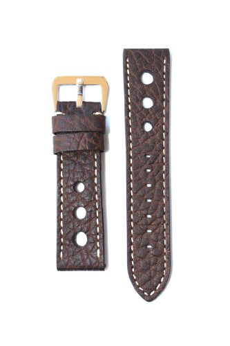 22mm-Dark-Brown-Panerai-Pilot-Style-Leather-Watchband-with-Contrast-Stitching