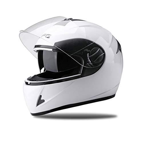ZXW Cascos - Casco eléctrico de Moto Hombres y Mujeres Casco de Invierno con Cobertura Total (Color : Blanco, Tamaño :...