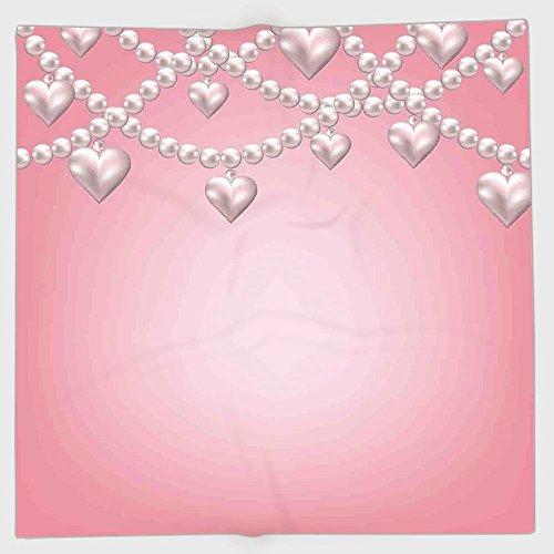 iPrint Polyester Bandana Headband Scarves Headwrap,Pearls Decor,Heart Pearl Necklace Design Vintage Style Accessory Love Celebrating Artwork Print Decorative,Beige Pink,for Women Men