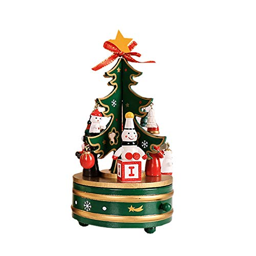 Nesee Music Box with Rotating Christmas Tree Figurine Snowman Jingle Bells Miniature Wooden Ornaments for Children (Green)