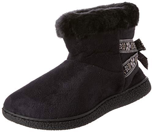 Bas black Femme Chaussons Slippers Boot Isotoner Suedette Blk Noir Short 88q4S
