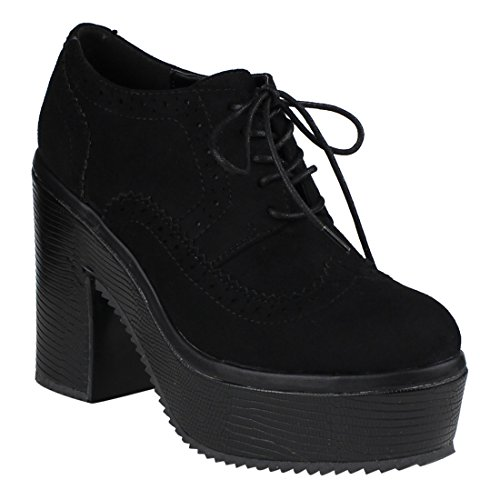 Beston FM19 Women's Lace Up Stitched Wingtip Block High Heel Platform Oxfords, Color Black, Size:8.5